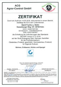 QS-Zertifikat Anbau 15.06.2018