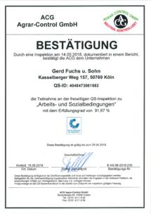 QS-Zertifikat Arbeits-u. Sozialbedingungen 15.06.2018