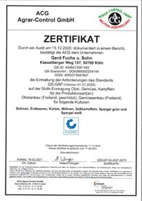 ACG Agrar Control QS-Gap-Zulassung Fuchs GbR 17.09.2021